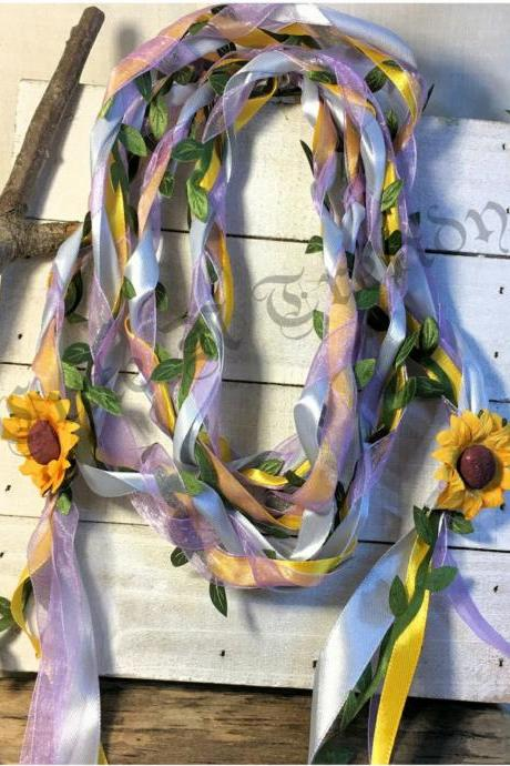 Sunflower Lavender/ silver/ Handfasting ribbon / cord wedding ceremony unity cord